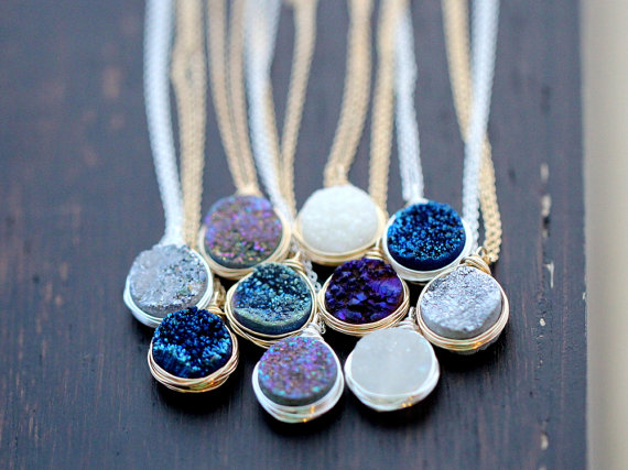 Druzy Bezel Pendant Necklace